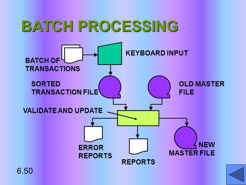 KEYBOARD INPUT BATCH OF TRANSACTIONS SORTED TRANSACTION FILE OLD MASTER FILE NEW MASTER FILE VALIDATE AND UPDATE ERROR REPORTS REPORTS 6.50 BATCH PROCESSING