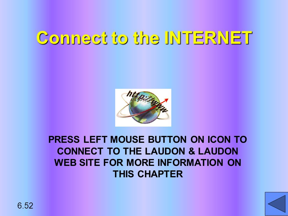 Connect to the INTERNET PRESS LEFT MOUSE BUTTON ON ICON TO CONNECT TO THE LAUDON & LAUDON WEB SITE FOR MORE INFORMATION ON THIS CHAPTER 6.52