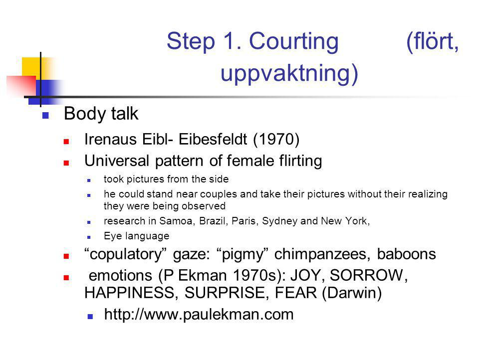 Step 1. Courting (flört, uppvaktning) Body talk Irenaus Eibl- Eibesfeldt (1970) Universal pattern of female flirting took pictures from the side he co