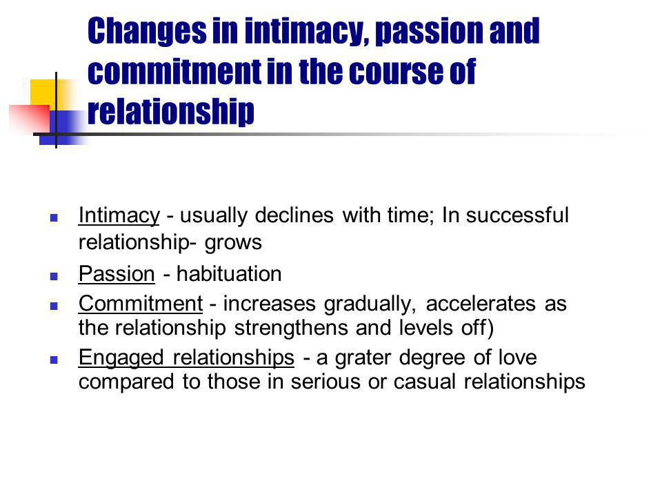 Changes in intimacy, passion and commitment in the course of relationship Intimacy - usually declines with time; In successful relationship- grows Passion - habituation Commitment - increases gradually, accelerates as the relationship strengthens and levels off) Engaged relationships - a grater degree of love compared to those in serious or casual relationships