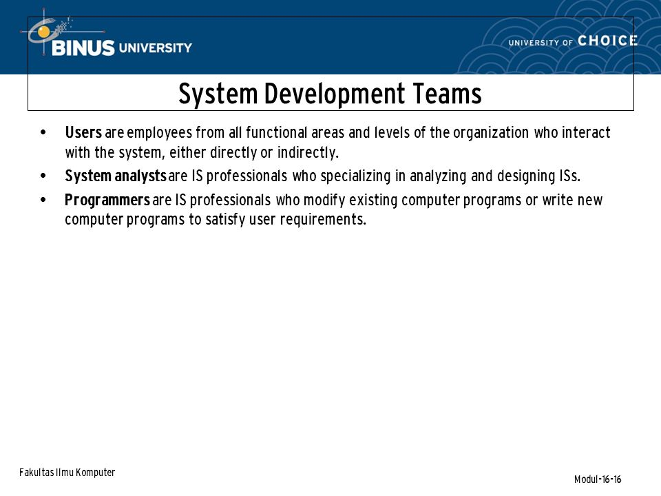 Fakultas Ilmu Komputer Modul-16-16 System Development Teams Users are employees from all functional areas and levels of the organization who interact with the system, either directly or indirectly.