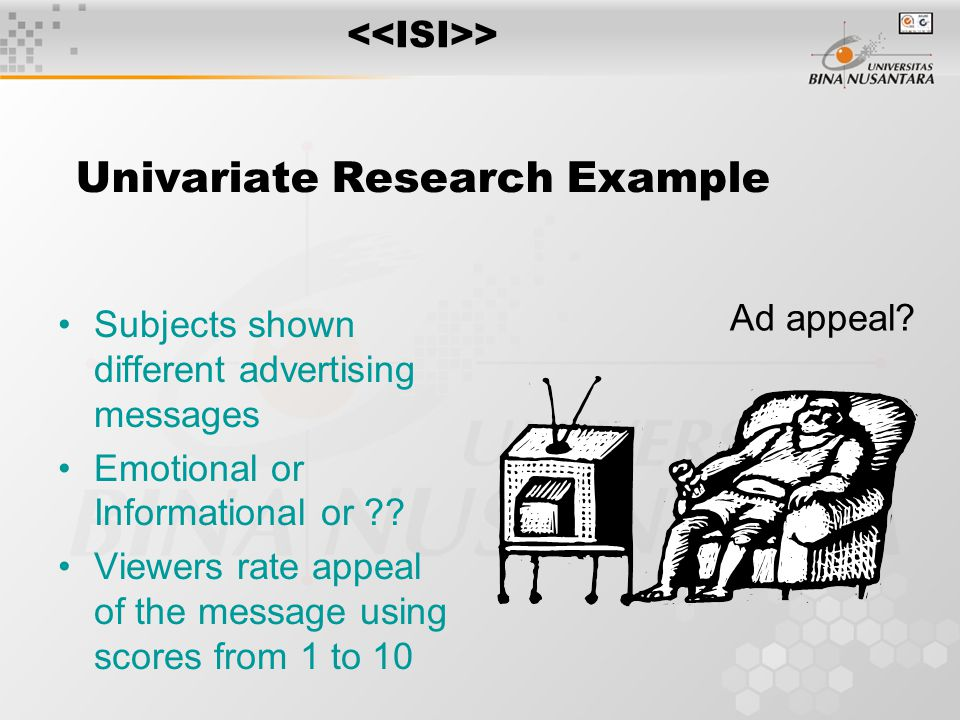Covariates Metric independent variables, called covariates can be used to eliminate systemic errors ANOVA becomes ANCOVA MANOVA becomes MANCOVA Procedures similar to linear regression are used to remove variation in the DV associated with covariates and then standard ANOVA and MANOVA can be used Ideal covariate is highly correlated with DV and not correlated with the IV >
