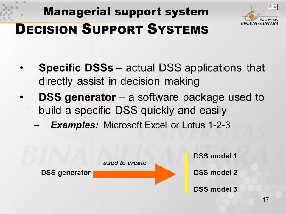 17 D ECISION S UPPORT S YSTEMS Specific DSSs – actual DSS applications that directly assist in decision making DSS generator – a software package used