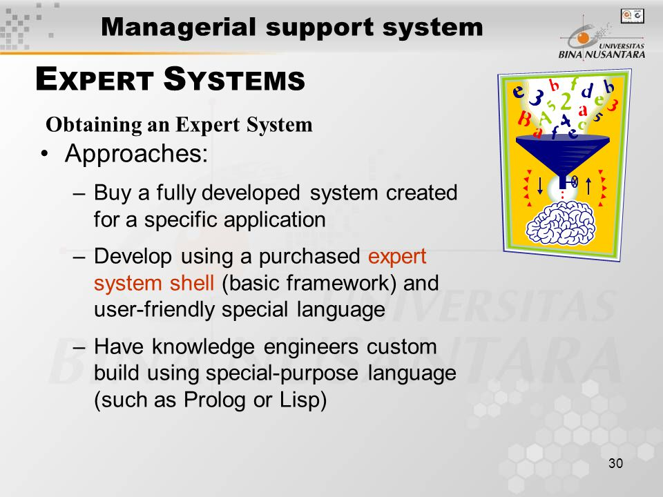 30 E XPERT S YSTEMS Approaches: –Buy a fully developed system created for a specific application –Develop using a purchased expert system shell (basic framework) and user-friendly special language –Have knowledge engineers custom build using special-purpose language (such as Prolog or Lisp) Obtaining an Expert System Managerial support system