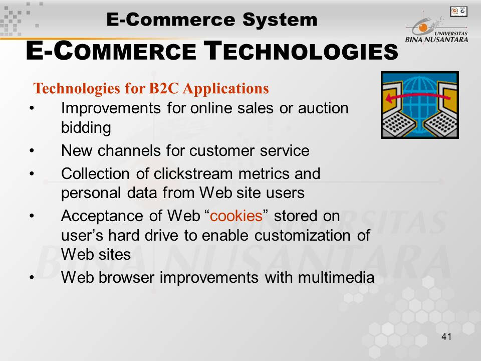 41 E-C OMMERCE T ECHNOLOGIES Improvements for online sales or auction bidding New channels for customer service Collection of clickstream metrics and