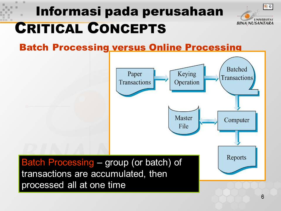 6 C RITICAL C ONCEPTS Batch Processing versus Online Processing Batch Processing – group (or batch) of transactions are accumulated, then processed all at one time Informasi pada perusahaan