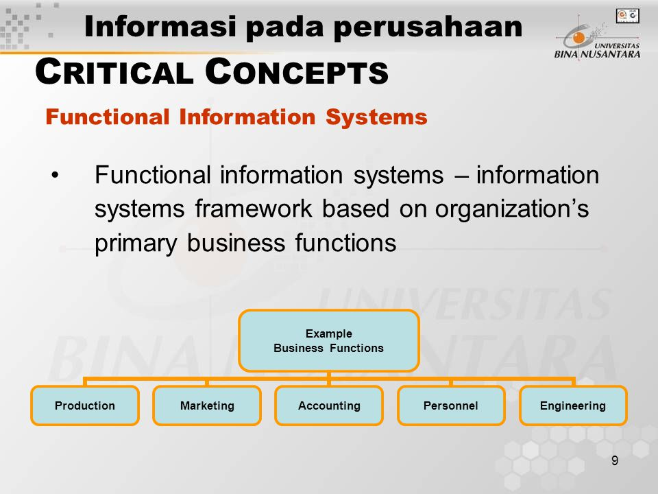 10 Vertically integrated information system – serves more than one vertical level in an organization or industry Vertical Integration of Systems C RITICAL C ONCEPTS Top Management Long-term trend analysis Middle Management Weekly data analysis to track slow-moving items and productive salespeople Produce invoices Capture initial sales data Example Sales System Informasi pada perusahaan