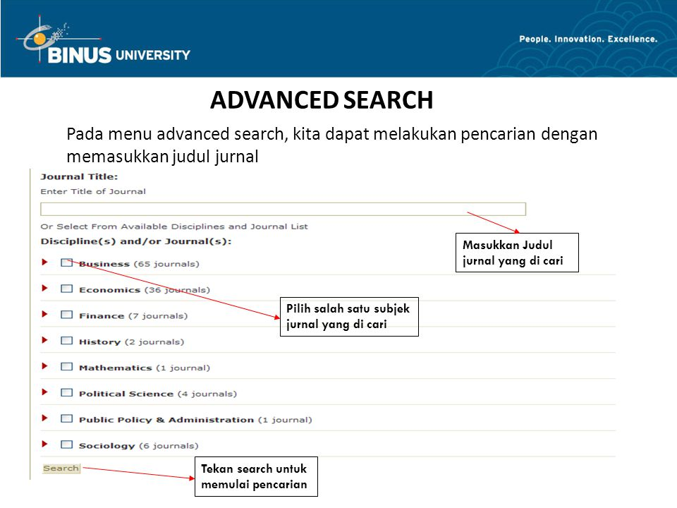 ARTICLE LOCATER Bina Nusantara Put the title Put the author Put the title of journal Put the ISSN Put the volume, issues, and start pagi Choose the monthly Press the search button Choose the related journal