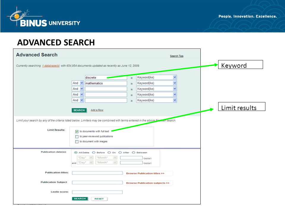 Bina Nusantara Keyword Limit results ADVANCED SEARCH