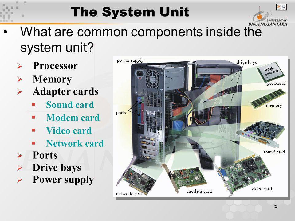 5 The System Unit What are common components inside the system unit.