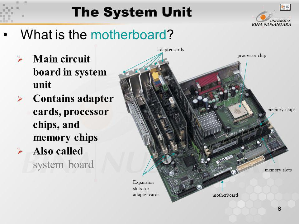 6 The System Unit What is the motherboard.
