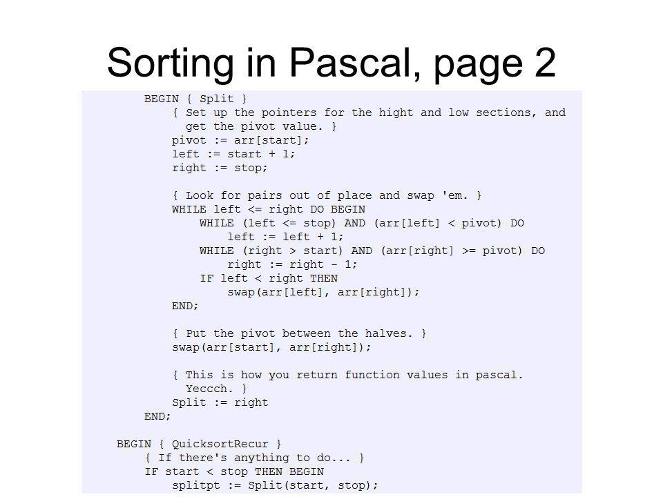 Sorting in Pascal, page 2
