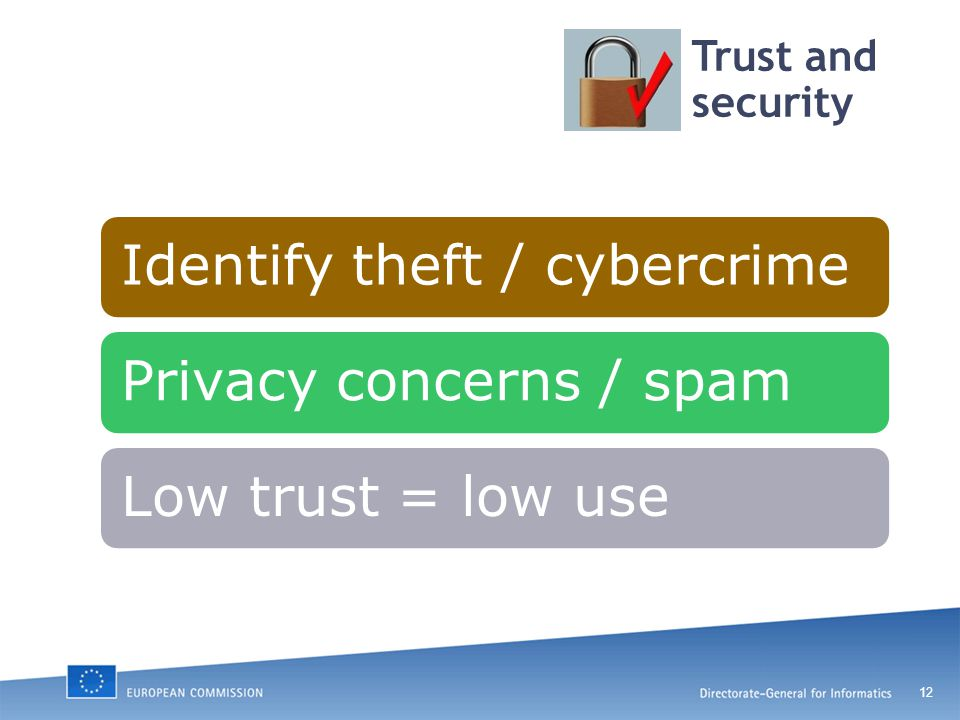 12 Trust and security Identify theft / cybercrimePrivacy concerns / spamLow trust = low use