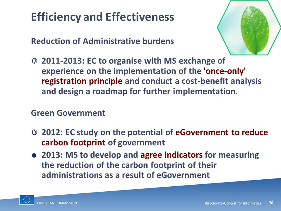 36 Efficiency and Effectiveness Reduction of Administrative burdens  2011-2013: EC to organise with MS exchange of experience on the implementation of the once-only registration principle and conduct a cost-benefit analysis and design a roadmap for further implementation.