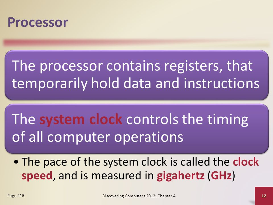 Processor The processor contains registers, that temporarily hold data and instructions The system clock controls the timing of all computer operation
