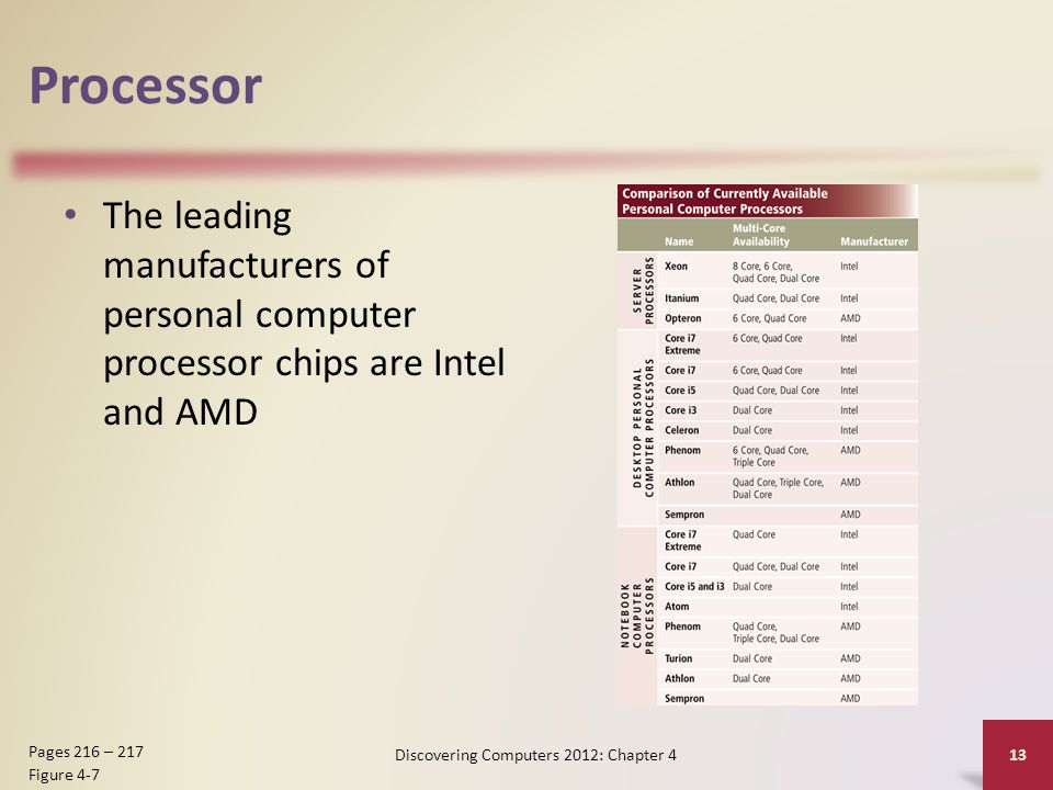 Processor The leading manufacturers of personal computer processor chips are Intel and AMD Discovering Computers 2012: Chapter 4 13 Pages 216 – 217 Fi