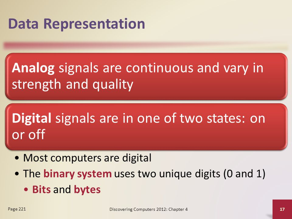 Data Representation Analog signals are continuous and vary in strength and quality Digital signals are in one of two states: on or off Most computers