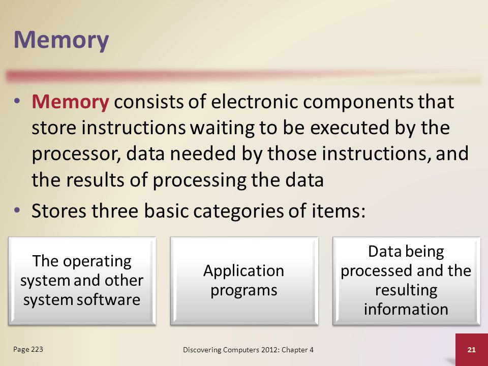 Memory Memory consists of electronic components that store instructions waiting to be executed by the processor, data needed by those instructions, an