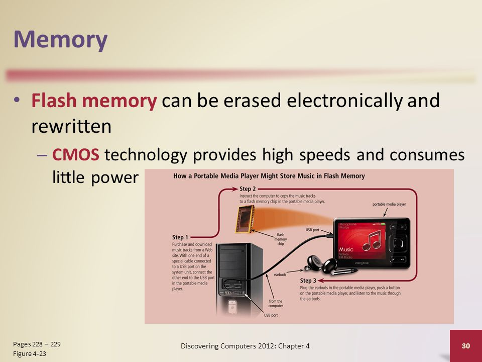 Memory Flash memory can be erased electronically and rewritten – CMOS technology provides high speeds and consumes little power Discovering Computers