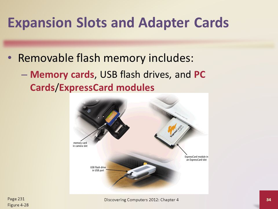Expansion Slots and Adapter Cards Removable flash memory includes: – Memory cards, USB flash drives, and PC Cards/ExpressCard modules Discovering Comp