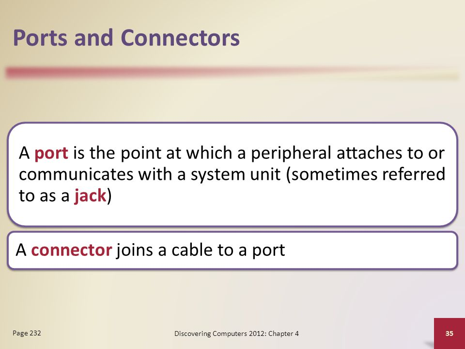 Ports and Connectors A port is the point at which a peripheral attaches to or communicates with a system unit (sometimes referred to as a jack) A conn