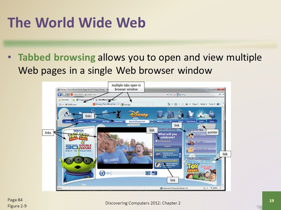 The World Wide Web Tabbed browsing allows you to open and view multiple Web pages in a single Web browser window Discovering Computers 2012: Chapter 2