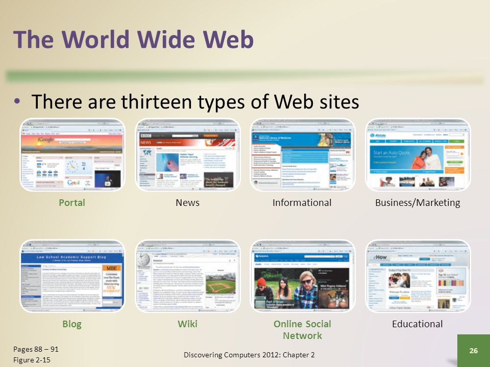 The World Wide Web There are thirteen types of Web sites Discovering Computers 2012: Chapter 2 26 Pages 88 – 91 Figure 2-15 PortalNewsInformationalBus