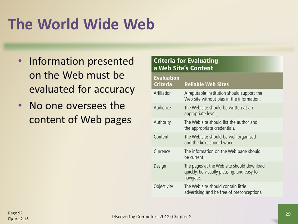 The World Wide Web Information presented on the Web must be evaluated for accuracy No one oversees the content of Web pages Discovering Computers 2012