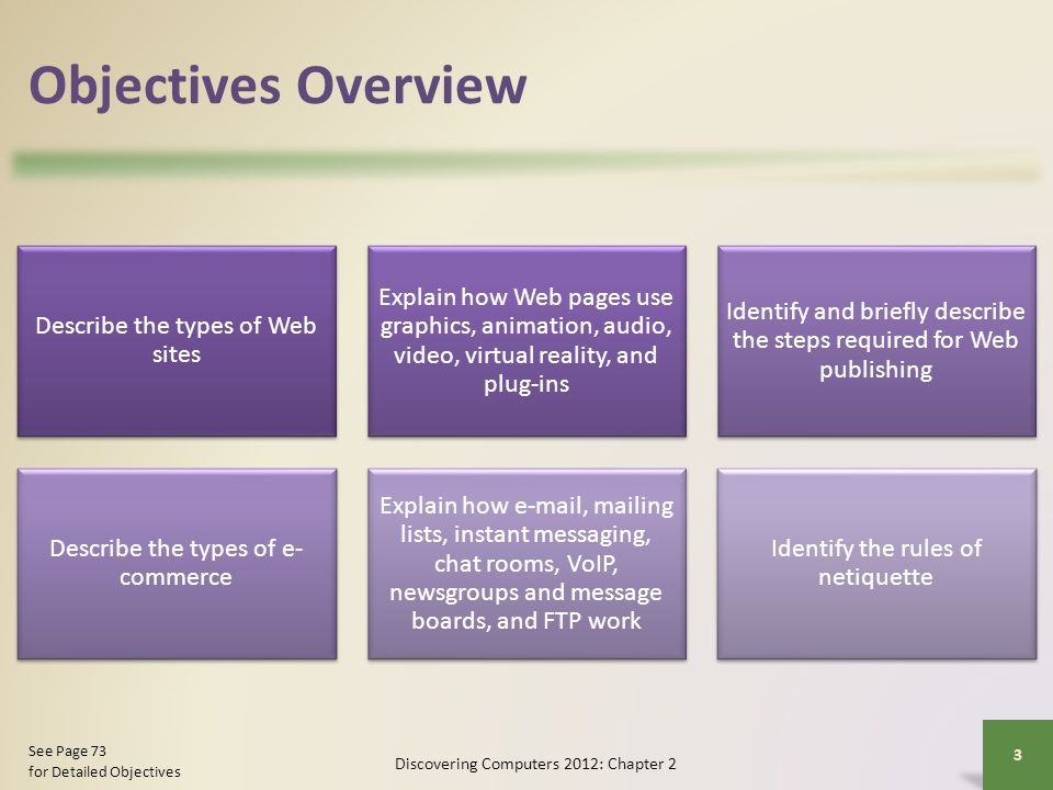 Objectives Overview Describe the types of Web sites Explain how Web pages use graphics, animation, audio, video, virtual reality, and plug-ins Identif