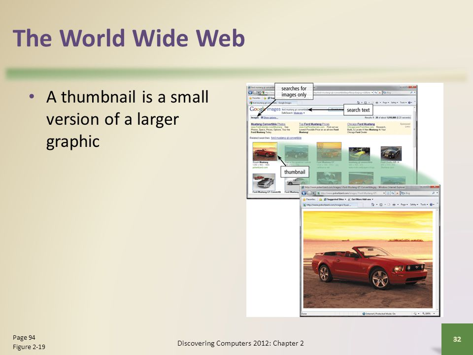 The World Wide Web A thumbnail is a small version of a larger graphic Discovering Computers 2012: Chapter 2 32 Page 94 Figure 2-19