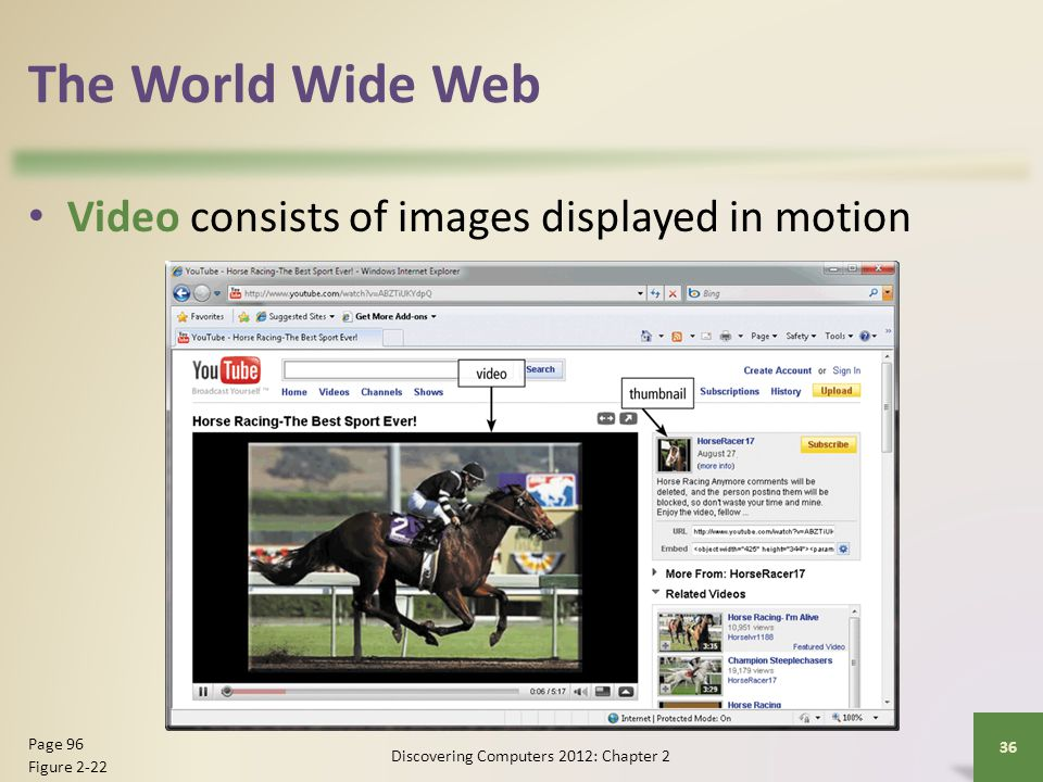 The World Wide Web Video consists of images displayed in motion Discovering Computers 2012: Chapter 2 36 Page 96 Figure 2-22