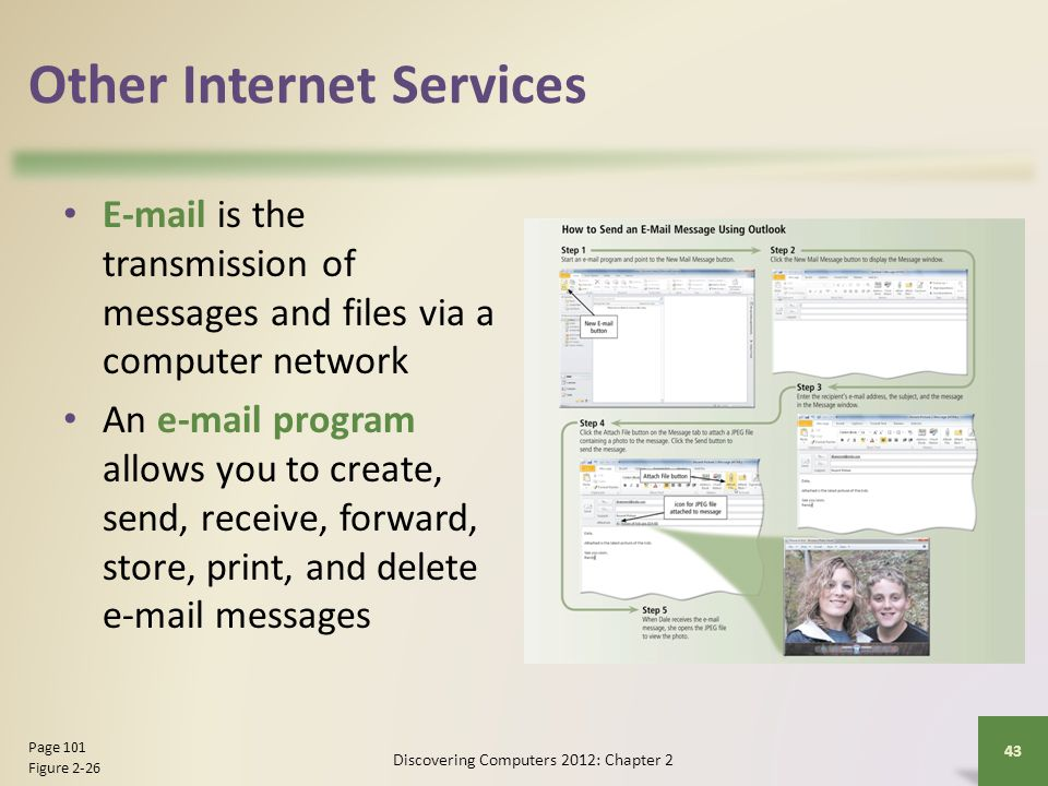 Other Internet Services E-mail is the transmission of messages and files via a computer network An e-mail program allows you to create, send, receive,