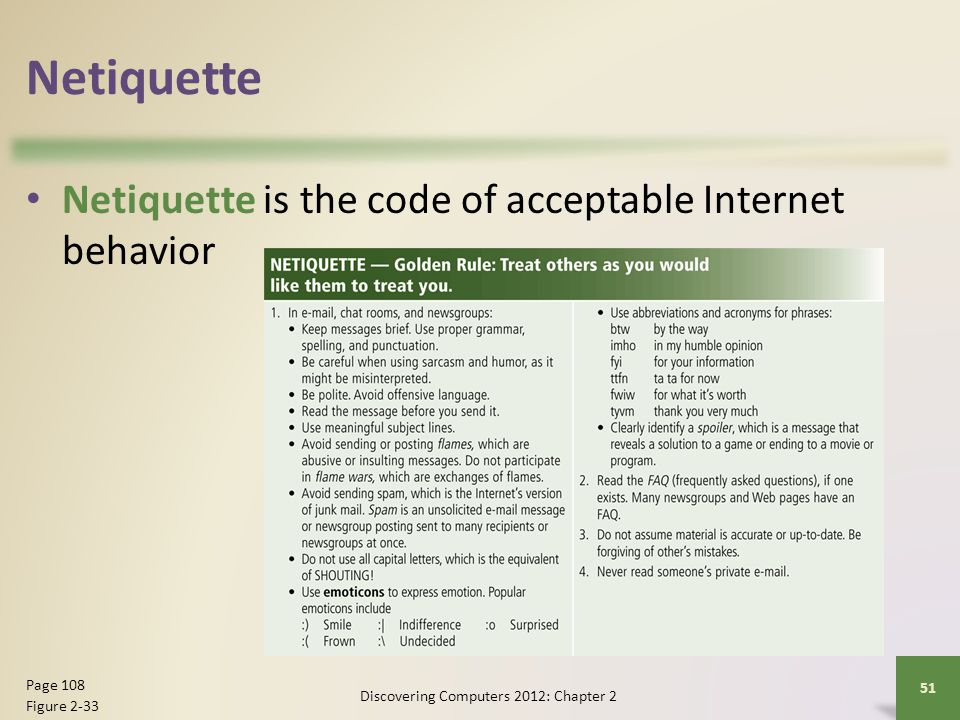 Netiquette Netiquette is the code of acceptable Internet behavior Discovering Computers 2012: Chapter 2 51 Page 108 Figure 2-33