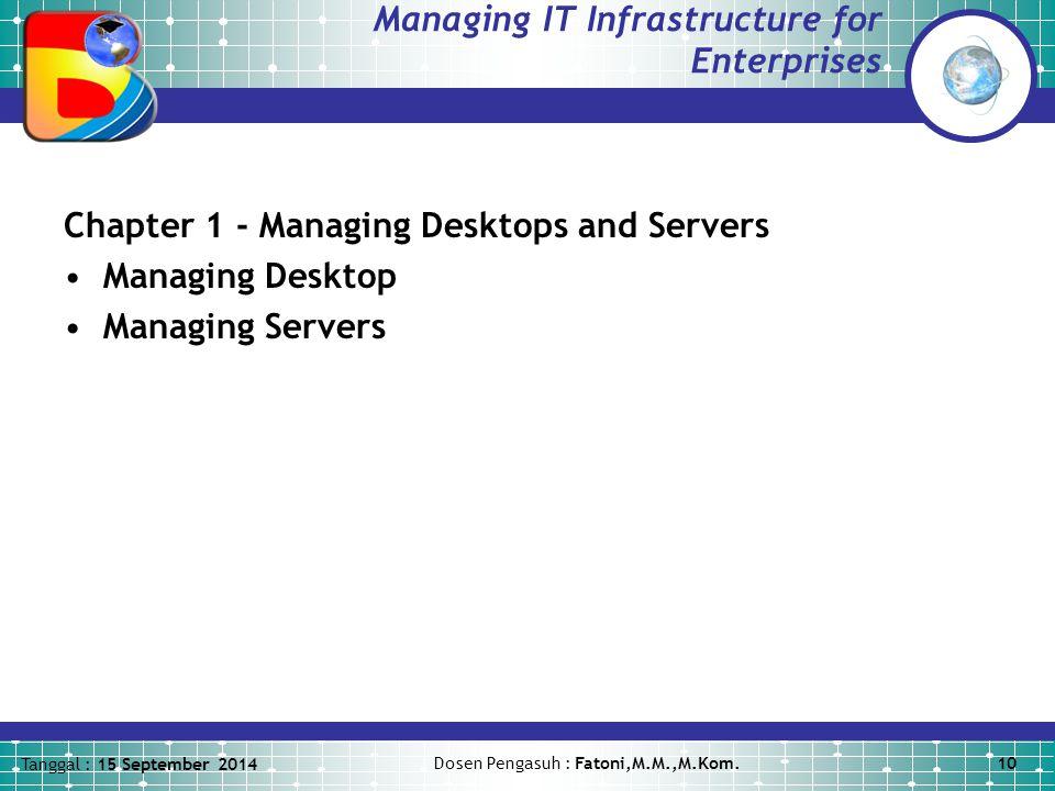 Tanggal : 15 September 2014 Dosen Pengasuh : Fatoni,M.M.,M.Kom.10 Managing IT Infrastructure for Enterprises Chapter 1 - Managing Desktops and Servers Managing Desktop Managing Servers