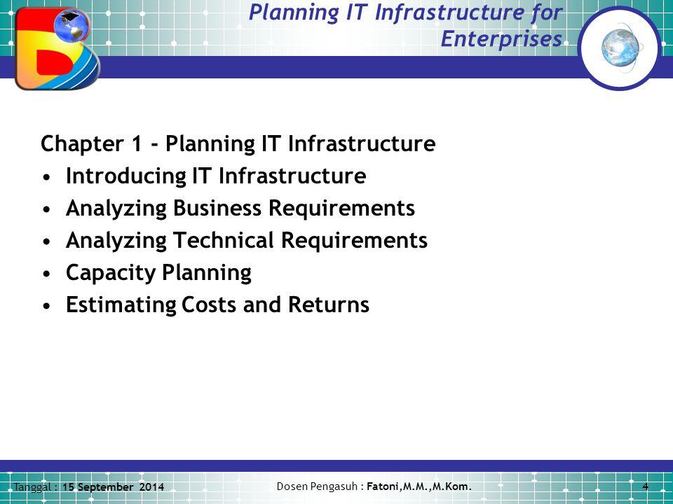 Tanggal : 15 September 2014 Dosen Pengasuh : Fatoni,M.M.,M.Kom.5 Planning IT Infrastructure for Enterprises Chapter 2 - Planning Desktop Solutions Planning for Desktops Selecting a Desktop Technology