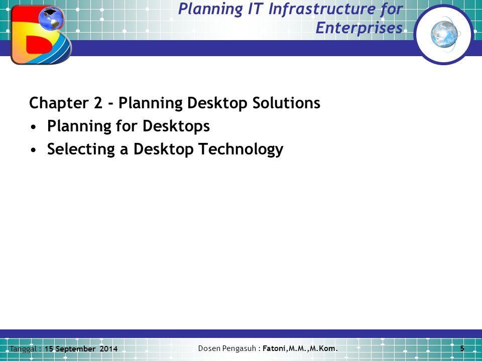 Tanggal : 15 September 2014 Dosen Pengasuh : Fatoni,M.M.,M.Kom.6 Planning IT Infrastructure for Enterprises Chapter 3 - Planning Server Solutions Planning for Servers Selecting the Types of Servers