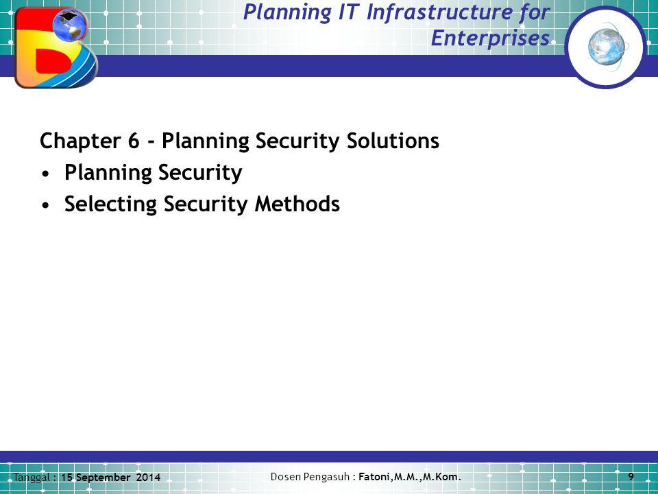 Tanggal : 15 September 2014 Dosen Pengasuh : Fatoni,M.M.,M.Kom.9 Planning IT Infrastructure for Enterprises Chapter 6 - Planning Security Solutions Planning Security Selecting Security Methods