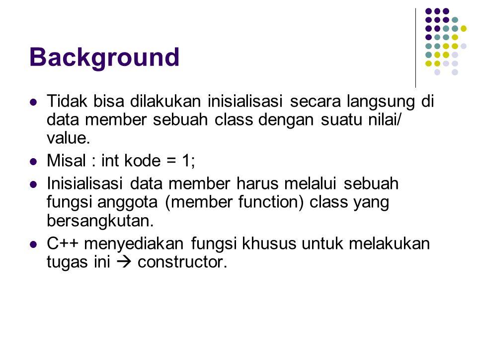 Background Tidak bisa dilakukan inisialisasi secara langsung di data member sebuah class dengan suatu nilai/ value. Misal : int kode = 1; Inisialisasi