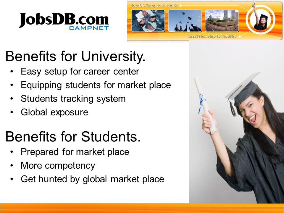 Benefits for University.