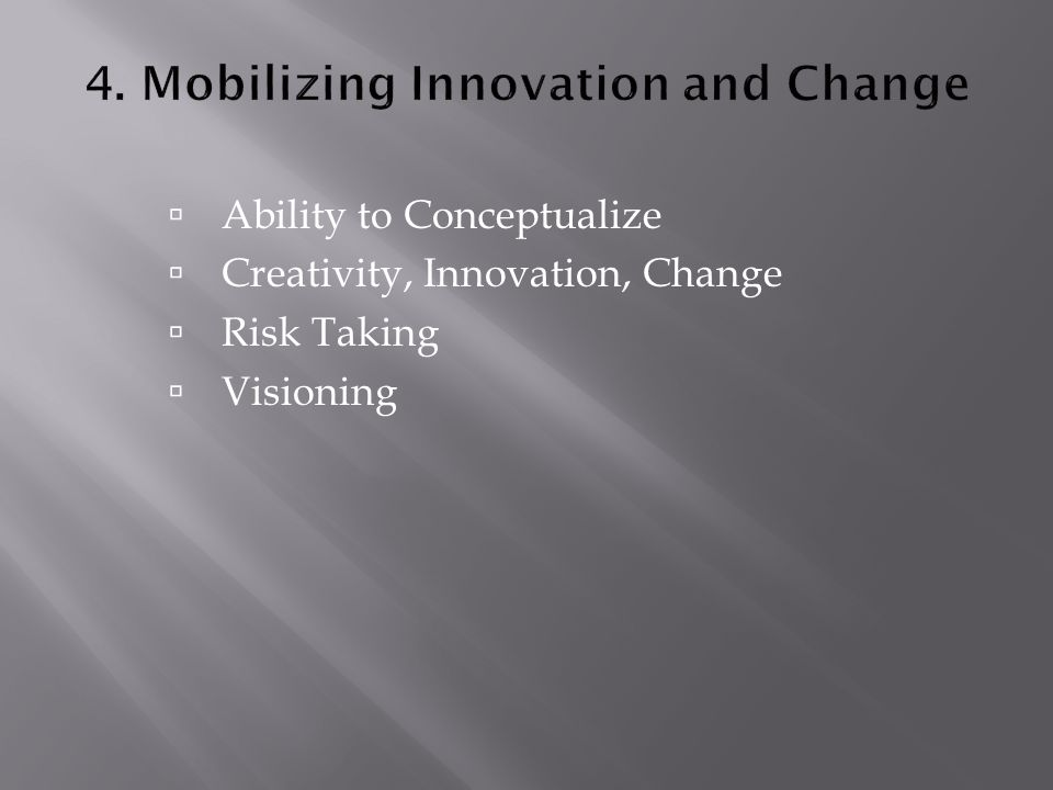  Ability to Conceptualize  Creativity, Innovation, Change  Risk Taking  Visioning