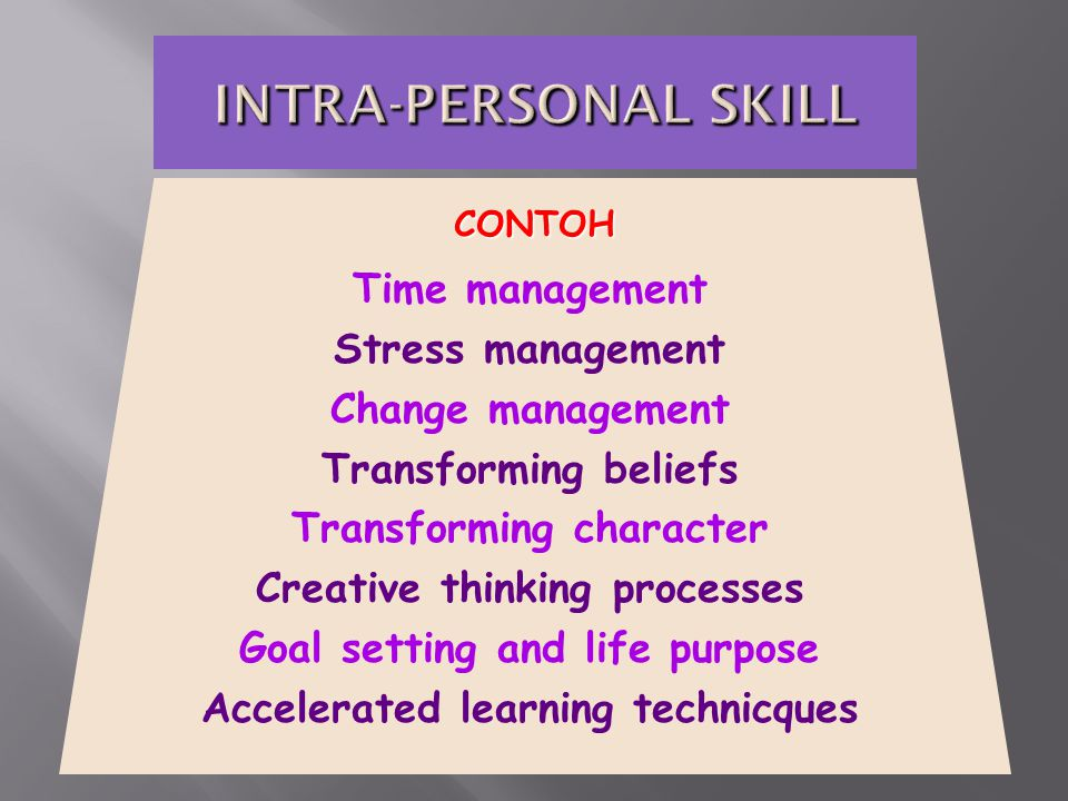 Time management Stress management Change management Transforming beliefs Transforming character Creative thinking processes Goal setting and life purpose Accelerated learning technicques CONTOH