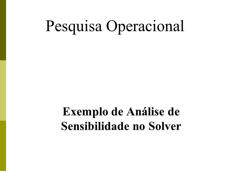Pesquisa Operacional Exemplo de Análise de Sensibilidade no Solver