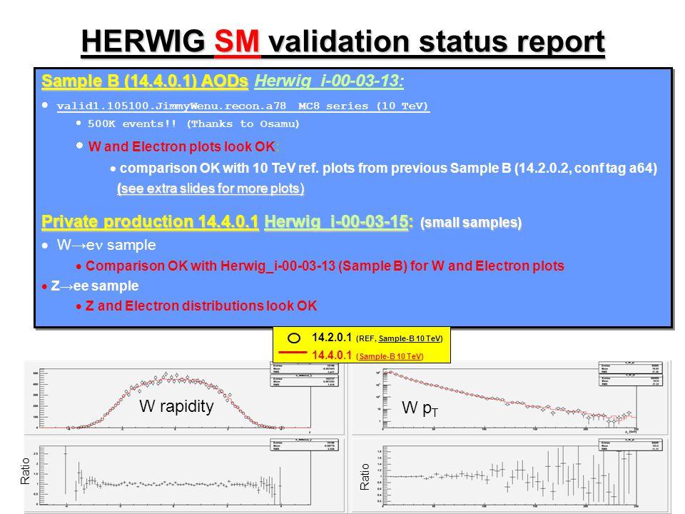 HERWIG SUSY validation status report Sample B (14.4.0.1) AODs Sample B (14.4.0.1) AODs Herwig_i-00-03-13:  valid1.105403.SU3_jimmy_susy.recon.a78 MC8 series (10 TeV)  plots look OK compared to ref.