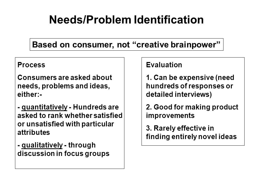 Needs/Problem Identification Based on consumer, not creative brainpower Process Consumers are asked about needs, problems and ideas, either:- - quantitatively - Hundreds are asked to rank whether satisfied or unsatisfied with particular attributes - qualitatively - through discussion in focus groups Evaluation 1.