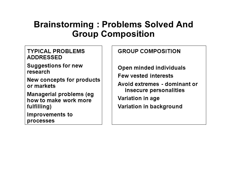 Brainstorming : Problems Solved And Group Composition GROUP COMPOSITION Open minded individuals Few vested interests Avoid extremes - dominant or insecure personalities Variation in age Variation in background TYPICAL PROBLEMS ADDRESSED Suggestions for new research New concepts for products or markets Managerial problems (eg how to make work more fulfilling) Improvements to processes