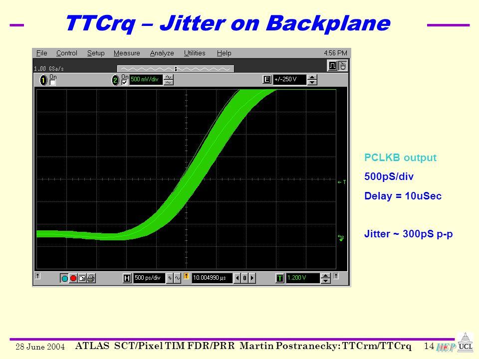 28 June 2004 ATLAS SCT/Pixel TIM FDR/PRR Martin Postranecky: TTCrm/TTCrq14 TTCrq – Jitter on Backplane PCLKB output 500pS/div Delay = 10uSec Jitter ~ 300pS p-p