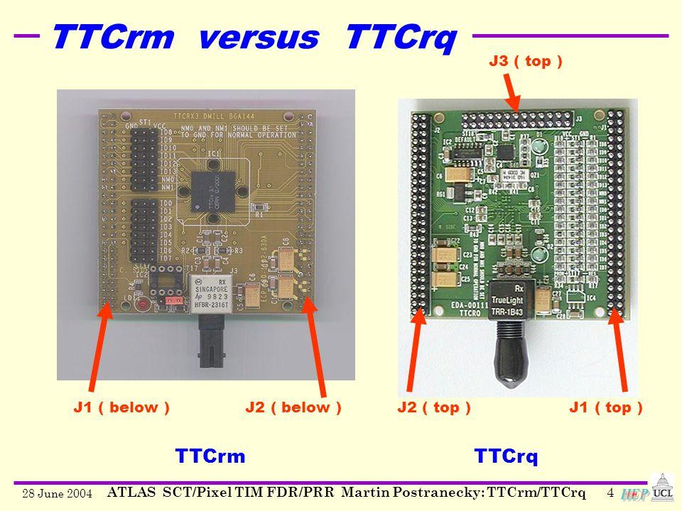 28 June 2004 ATLAS SCT/Pixel TIM FDR/PRR Martin Postranecky: TTCrm/TTCrq4 TTCrmTTCrq J1 ( below ) J2 ( below )J2 ( top ) J1 ( top ) J3 ( top ) TTCrm versus TTCrq