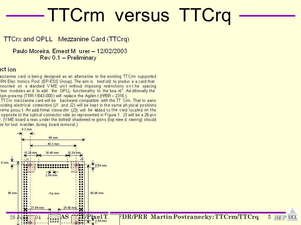 28 June 2004 ATLAS SCT/Pixel TIM FDR/PRR Martin Postranecky: TTCrm/TTCrq5 TTCrm versus TTCrq