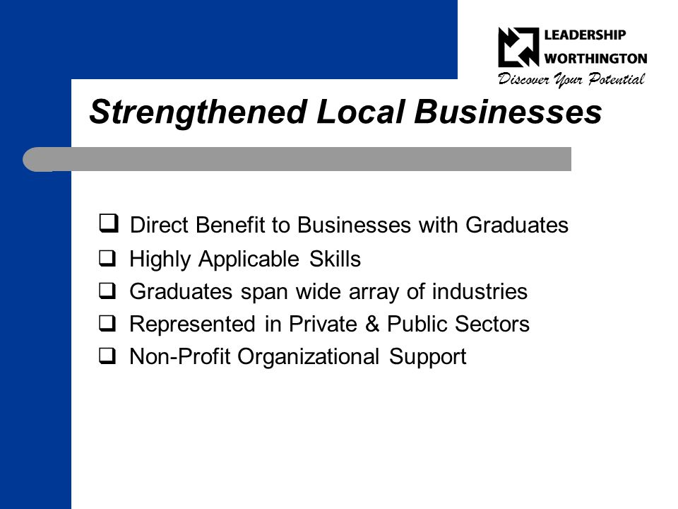 Discover Your Potential Strengthened Local Businesses  Direct Benefit to Businesses with Graduates  Highly Applicable Skills  Graduates span wide array of industries  Represented in Private & Public Sectors  Non-Profit Organizational Support