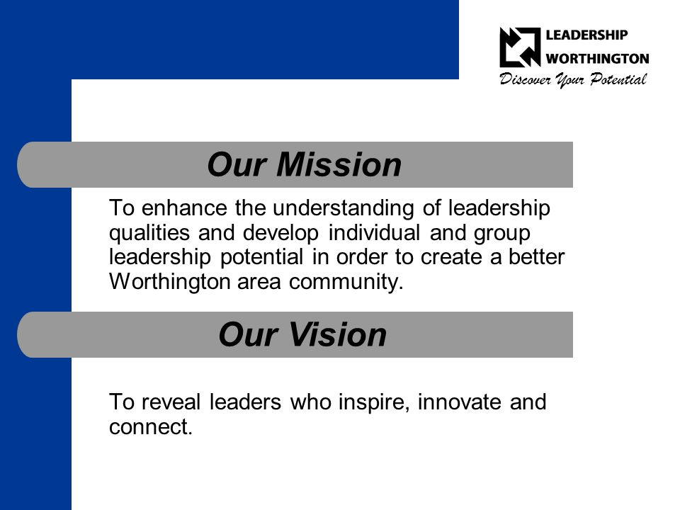 Discover Your Potential Mission and Vision To enhance the understanding of leadership qualities and develop individual and group leadership potential